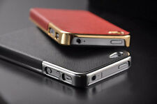New Luxury Leather with  Frame Chrome Hard Back Case Cover For iPhone 5 5S