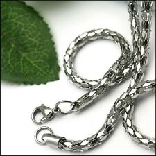 Shiny 5mm Link chain necklace silver stainless steel Jewelry for Men Women 5mm