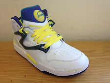 Reebok Pump Basketball Trainers Shoes Uk 7 Mens Low Boots White Yellow Leather
