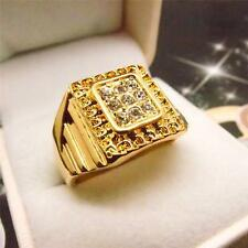 Men Jewelry Hip Hop 14K Yellow Gold Filled Glint Crystal Men's Ring R45 9#-12#