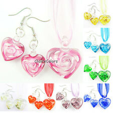 Flower Heart Love Lampwork Murano Glass Art Beads Pendant Necklace Earrings Set
