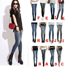Retro Women Lady Denim Jeans Leggings Girl Jeggings Skinny Tights Pants Trousers