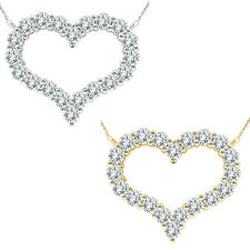 2.5 Carat G-H SI3-I1 Diamond Heart Charm 14K White/Yellow Gold Necklace 18 Chain