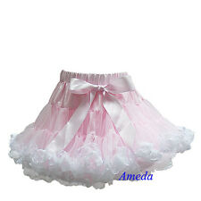 NEW Elegant Mistyrose Pink White Lace Pettiskirt Tutu Birthday Party Skirt 1-7Y