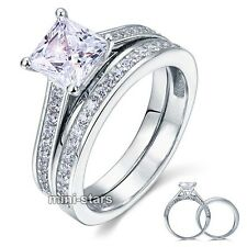 Sterling 925 Silver 1.5 Ct Created Diamond 2-Pc Engagement Ring Set FR8009S