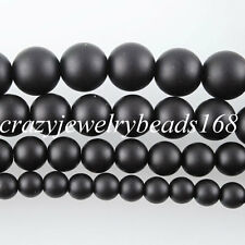 Natural Onyx Gemstone Round Beads 15.5'' Strand 6 8 10 12MM Matte Black BG059