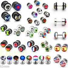 Punk Stainless Steel Fake Cheater Ear Stud Earring Illusion Flesh Plug Stretcher