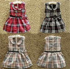 NEW Baby Girl Kid Skirt Double-breasted Collar Classic Plaid Party Dress Clothes
