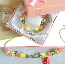 GIRLS/CHILDRENS ANY NAME PERSONALISED  CHARM BRACELET/NECKLACE SET GIFT BOXED