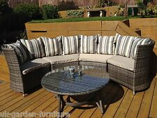 Rattan Grey Brown Mix Garden Patio Corner Sofa Lounge Furniture Set Aluminium