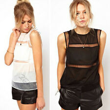 Womens Sexy Hollow Chiffon Zip Back Cut Out Vest Tops Casual Blouse Crewneck