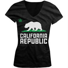 Pot Leaf Grizzly Bear California Republic Cali Life Weed Juniors V-neck T-shirt