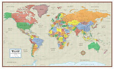 World Contemporary Elite Wall Map Mural Poster: Paper, Laminated or Framed