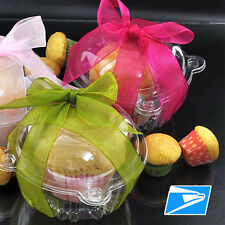 Plastic Clear Hinged Food Takeout Container Cupcake Cookie Favor Cake Box