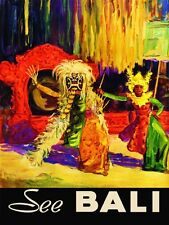 See Bali Festival Island  Indonesia Travel Tourism Vintage Poster Repro FREE S/H