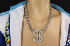 New Men Silver Gold Metal Chain Fashion Necklace Large Dollar Sign Big $ Pendant