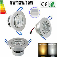 Ultra Bright 9W 12W 15W LED Ceiling Down Light Cabinet Recessed Fixture Lamp Kit