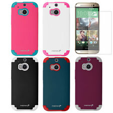 Slim Fit Tough Hybrid Dual Layer Armor Case Cover + Matte Film for HTC One M8