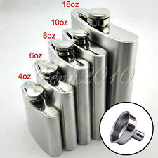 4 5 6 8 10 18 oz Liquor Stainless Steel Pocket Hip Flask Screw Cap with Funnel
