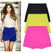 Women Candy Color Irregular OL Low Waist Summer Shorts Pants Mini Skirt Dress