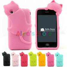 Cute 3D Smile Kitty Cat Rubber Back Case Soft Cover Skin For iphone 3g 3gs