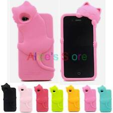 3D Cute Smile KiKi Silicone Rubber Soft Back Case Cover for Apple iphone 4 4S
