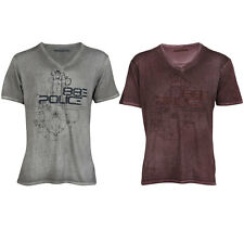 883 POLICE NEW MENS TAWA V NECK FADED WASHED DYE PRINTED T-SHIRT TOP SIZE S-XXL
