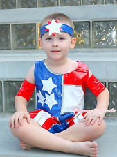 4th July Patriotic America Flag Tank Top Short Pants Kids Boy Costume 2-7Year