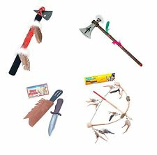 INDIAN TOY WEAPON DAGGER AXE BOW TOMAHAWK NATIVE AMERICAN FANCY DRESS ACCESSORY