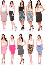 Women Lady High Waisted Plus Size Pencil Skirt Stretch Bodycon Knee Length Shirt