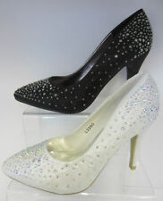 L2280 - Anne Michelle Pointed Toe Diamante Wedding Shoes - Black or White