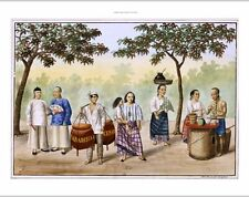 NEW CANVAS PRINT of colourful engraving Vista en una plaza, MANILA philippines