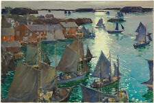 JONAS LIE Anchored Boats harbour MOONLIGHT calm sea sail mast house ON CANVAS!