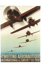 "BAUMBERGER ""Meeting Aeronautique"" aeroplanes CANVAS print of vintage poster"