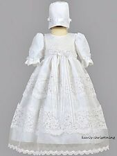 Girl's White Baptism Christening Gown Dress Organza & Lace Trim 0-18M / Pauline