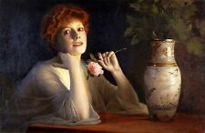 MAX NONNENBRUCH The Fair Rose REDHEAD woman stem night light NEW CANVAS PRINT!