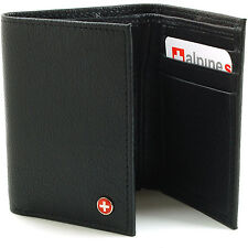 Alpine Swiss Mens Trifold Wallet Genuine Leather Card Case ID Window Billfold NW