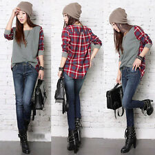 Women Ladies Plaid Checked Long Sleeve Casual Loose T shirt Tops Blouse S-XXL