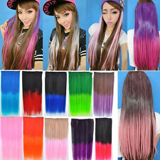 New Long Straight Cosplay Party Hair 5 Clips in Hair Extensions 10 colors FAP15