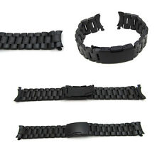 New Watch Strap Bracelet BLACK PVD STAINLESS STEEL Band Curved Lug 16mm - 24mm