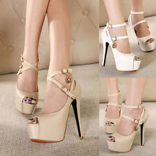 Sexy Ankle Strap Womens High Heels Peep Toe Platform Stiletto Pumps Party Shoes