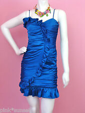 Betsey Johnson Blue Charmeuse Runway Real House Wife Dress  2 4 6