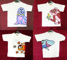 WHITE Children's T-Shirts with CUTE ANIMAL: SPIDER, MONKEY, SHARK, SEA LION, new