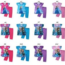 NEW Girls Frozen PJ Elsa & Anna Princess Pajamas Shirt Top/Pants Set Outfit 3-8
