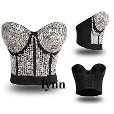 Sexy Fashion Top Stage Wear Rave Bustier Silver Sequin Gem Stone Studded Corset