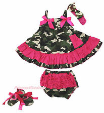 Hot Pink Camouflage Bow Swing Top Baby Girl Ruffle Bloomer Pants Set NB-2Y
