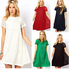 Princess Women's Casual Short Sleeve Lace Club Cocktail Party Loose Mini Dress