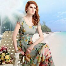Womens U Neck Polychrome Floral Printed Boho Long Swing Summer Beach Party Dress