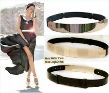 Women Fashion Metallic Plate Gold Mirror Shiny Wide Obi Band Elastic Waist Belt