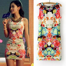 2014 new fashion women's casual retro colorful floral sleeveless summer dress